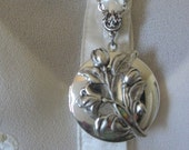Easter Lilies Locket, Bouquet, Antiqued Locket, Silver Locket, Locket Necklace, Flower Locket, Lillies