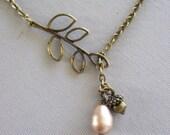 Branch Necklace, Acorn Necklace, Twig, Acorns, Vintage Brass, Branch Lariat, Leaf Necklace, Pearl Necklace, Winter Wedding
