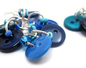 Button Dangle Earrings - Blue by randomcreative on Etsy