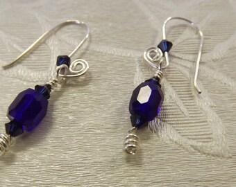 Cobalt blue Swarovski Crystal dangle hand forged  spiral earrings earrings