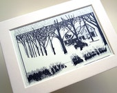 ANTIQUE CHRISTMAS | Gocco screenprint with mat | winter holiday | silver and black | by Kathryn DiLego