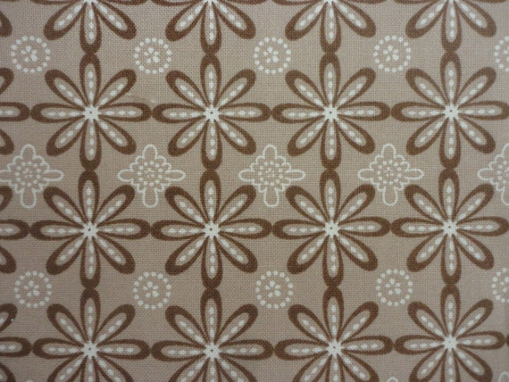 Cotton Fabric, Brown and White Flowers 1 Yard