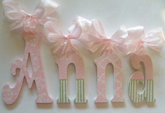 wood letters wooden wall letters baby name letters glitter and