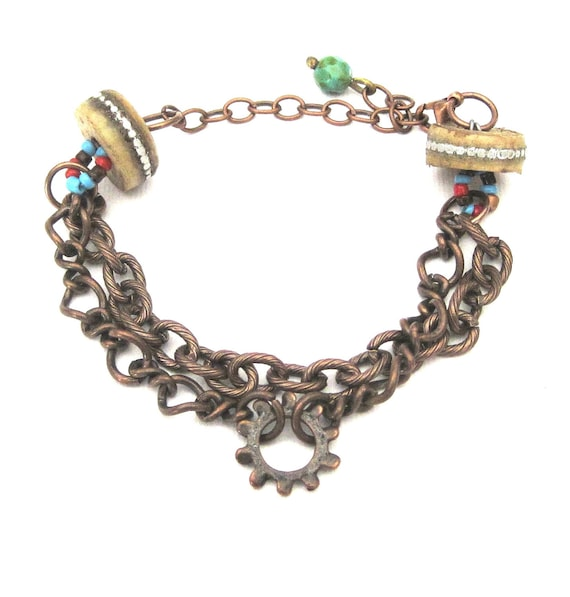 Rustic Country Cowgirl Chic Antique Copper Double Strand Chain Bracelet