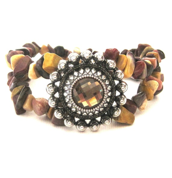 Country Chic Double Strand Stretch Stack Bracelet with rhinestone earth tones - brown, mustard yellow, ivory, burgundy
