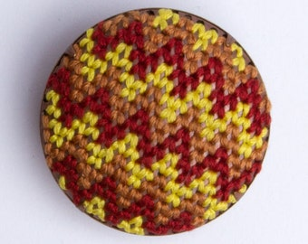 Tribal Brooch (Red, yellow, gold, chevron)
