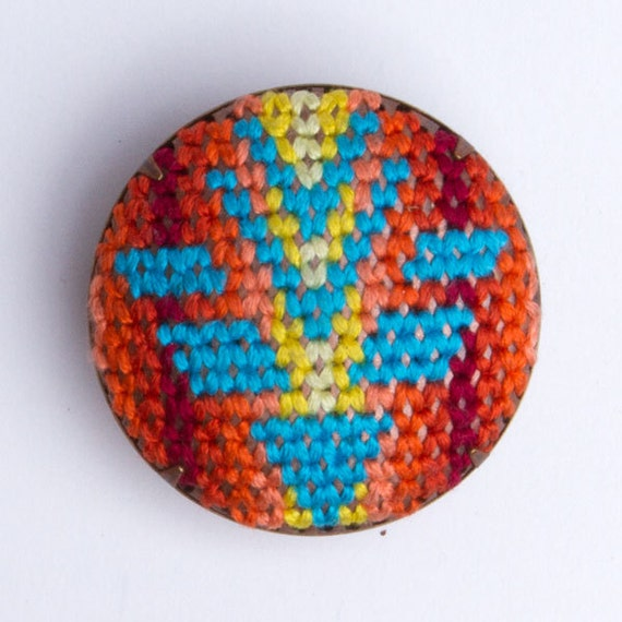 Jacket inspired Brooch (Turquoise, orange, yellow, shield)