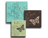 Butterfly Dandelion Aqua Brown Green Digital Download Collage Sheet 1 Inch, 1.25 Inch & Scabble Tile Size Squares Butterfly Flowers Swirls