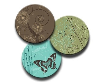 Round Digital Butterfly Flowers Spirals Green, Brown and Aqua 1 Inch, 1.25 Inch, 1.313 Inch  and 1.5 Inch Circles INSTANT DOWNLOAD