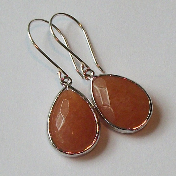 LAST ONE Rusty Orange Pumpkin Spice Crystal Silver Drop Earrings