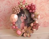 Pink Rhinestone and Pearly Embellished Vintage Jeweled Picture Frame