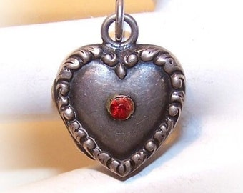 RARE 1940s Sterling Silver Puffy HEART LOCKET with Red Rhinestone