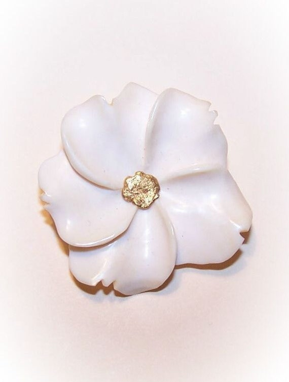 Vintage Alaska Ivory & Gold Nugget Pin/Brooch - Floral...