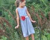 Simple Summer Dress - girls blue knit sundress with flower sash belt - , 2T/3T left