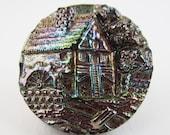 antique button mill house scene black glass aurora finish