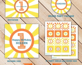 Deluxe Custom Printable Party Package...SUNSHINE COLLECTION...Personalized...by KM Thomas Designs