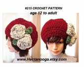 crochet pattern, hat, CHUNKY SLOUCHIE HAT num  215, by hectanooga on etsy.Oh Ruby age 12 to adult