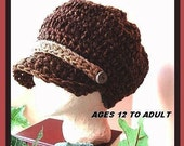 crochet pattern, NEWSBOY VISOR HAT num 213 Courtney visor hat , Age 1 to adult, .. permission to sell your finished hats