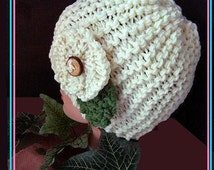 KNITTING PATTERN HAT - Easy Beginner Knitted Touque, Unisex, Flower pattern included, newborn to adult, num. 567