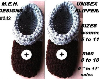 crochet patterns num 242, slippers, Unisex ,Cuffs or No Cuffs Slippers for  MEN AND WOMEN.
