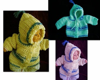 CROCHET PATTERN, baby sweater, cardigan, hooded,  children, up to age 4, toddlers, childrens clothing, num 491