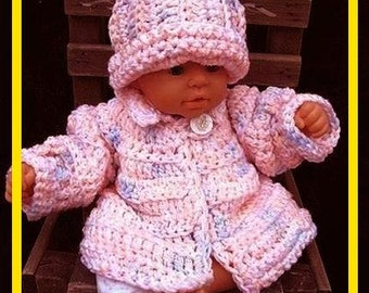 Crochet Pattern,  Baby Sweater and hat, Baby Set num 198,  Newborn to 6 months, kids, chunky style quick, easy, sweater set