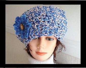 CROCHET PATTERN Hat - Crochet Hat - Chunky Style Blue Beret.and flower. num 378 Teen and Adult size permission to sell your finished items.