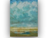 Hazy Day- Abstract Landscape 18x24 original oil painting on canvas blue and yellow clouds and sky impressionist  palette knife painting