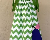 Girl's Sundress Green Chevron with Purple Pear Applique, Size 3/4, Ready to Ship