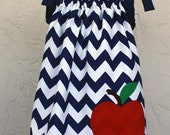 Girl's Navy Chevron Dress or Jumper with Apple Applique, Back to School, Size 4, Ready to Ship