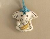 Ganesh Ganesha Pendant, Ceramic White Elephant Necklace