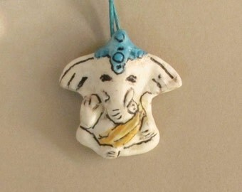 Ganesh Ganesha Pendant - Ceramic White Elephant Necklace