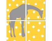 Polka Dot Giraffe Modern Nursery Art Quad - Set of Four 11x14 Prints - Kids Wall Art - CHOOSE YOUR COLORS - Shown in Yellow, Gray and More