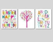 Sunshine Alphabet Nursery Art Trio - Set of Three 8x10 Prints - Tree Dot, You Are My Sunshine, Modern Alphabet - CHOOSE YOUR COLORS