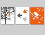 Modern Bird Trio Birds and Trees Nursery Art Decor - Set of Three 8x10 Prints - CHOOSE YOUR COLORS