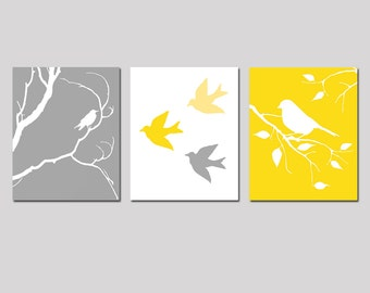 Bird Nursery Art Trio - Set of Three 11x14 Prints - Birds on a Branch - CHOOSE YOUR COLORS - Shown in Gray, Yellow, and More