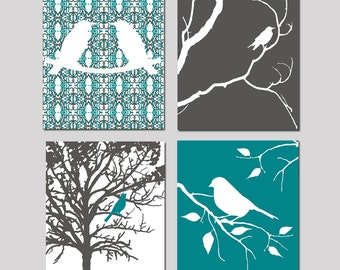 Bird Wall Art Nursery Quad - Set of Four 8x10 Nature Inspired Prints - Choose Your Colors - Shown in Gunmetal Gray, Teal