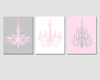 Modern Chandelier Trio - Set of Three 8x10 Chandelier Silhouette Art Prints - CHOOSE YOUR COLORS - Shown in Pale Gray, Pale Pink and White
