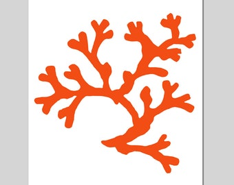 Coral - 8x10 Sea Life Nautical Beach Silhouette Print - As Seen On Mackenzie Horan Design Darling - CHOOSE YOUR COLORS - Coral Red and More