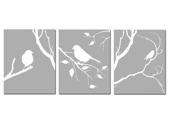 Modern Bird Trio - Set of Three 11x14 Coordinating Birds on a Branch Prints - CHOOSE YOUR COLORS - Shown in Gray, Yellow, Red, and More