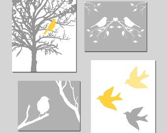 Yellow Gray Grey Nursery Art - Bird Quad - Set of Four Prints - 5x7 and 8x10 Mix - CHOOSE YOUR COLORS - Shown in Gray, Yellow, Blue and More