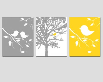 Modern Baby Bird Trio - Set of Three 11x14 Prints - CHOOSE YOUR COLORS - Shown in Yellow, Gray, and More - Nursery Decor