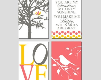 Nursery Art Quad - You Are My Sunshine, LOVE, Birds in a Tree, Bird on a Branch - Set of Three 13x19 Prints - Choose Your Colors