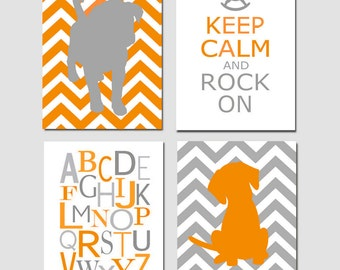 Puppy Nursery Art Quad - Set of Four 11x14 Prints - Chevron Labrador Puppy Dog, Keep Calm and Rock On, Modern Alphabet - CHOOSE YOUR COLORS