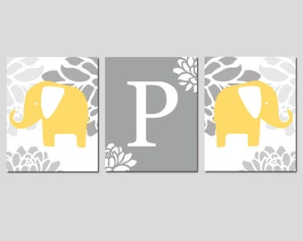 Yellow Gray Elephant Nursery Art Prints Trio - Floral Elephants and Floral Monogram Initial - Set of Three 8x10 Prints - CHOOSE YOUR COLORS