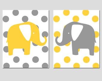 Elephant Nursery Art - Polka Dot Elephant Duo - Set of Two 8x10 Prints - CHOOSE YOUR COLORS - Shown in Gray and Yellow