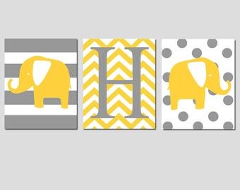 Elephant Initial Nursery Art Trio - Set of Three 11x14 Prints - Stripe, Polka Dot Elephants, Chevron Monogram - CHOOSE YOUR COLORS
