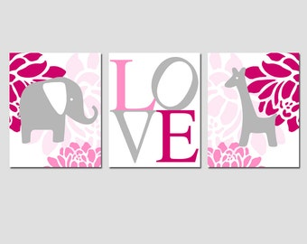 Baby Girl Nursery Art - Floral Elephant Giraffe Love Trio - Set of Three 8x10 Prints - CHOOSE YOUR COLORS - Raspberry, Pink, Gray, and More