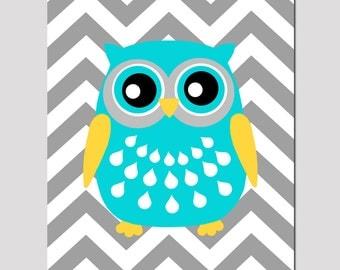 Modern Chevron Owl Silhouette Nursery Art Print - 8x10 - Kids Wall Art - CHOOSE YOUR COLORS