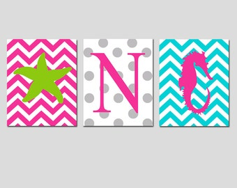 Nautical Kids Wall Art Trio - Set of Three 8x10 Prints - Chevron Starfish, Polka Dot Monogram Initial, Chevron Seahorse - CHOOSE YOUR COLORS